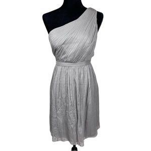 NWT J Crew Silk One Shoulder Grey Dress Size 10P